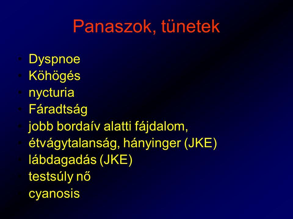 Panaszok, tünetek Dyspnoe Köhögés nycturia Fáradtság jobb bordaív alatti fájdalom, étvágytalanság, hányinger (JKE) lábdagadás (JKE) testsúly nő cyanosis