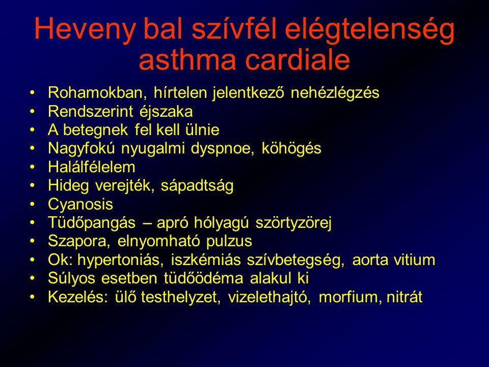 Heveny bal szívfél elégtelenség asthma cardiale Rohamokban, hírtelen jelentkező nehézlégzés Rendszerint éjszaka A betegnek fel kell ülnie Nagyfokú nyugalmi dyspnoe, köhögés Halálfélelem Hideg verejték, sápadtság Cyanosis Tüdőpangás – apró hólyagú szörtyzörej Szapora, elnyomható pulzus Ok: hypertoniás, iszkémiás szívbetegség, aorta vitium Súlyos esetben tüdőödéma alakul ki Kezelés: ülő testhelyzet, vizelethajtó, morfium, nitrát