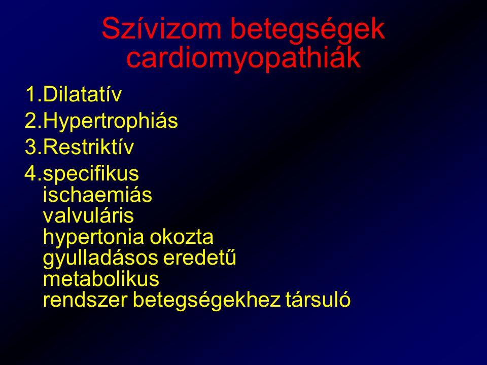 Szívizom betegségek cardiomyopathiák 1.Dilatatív 2.Hypertrophiás 3.Restriktív 4.specifikus ischaemiás valvuláris hypertonia okozta gyulladásos eredetű metabolikus rendszer betegségekhez társuló