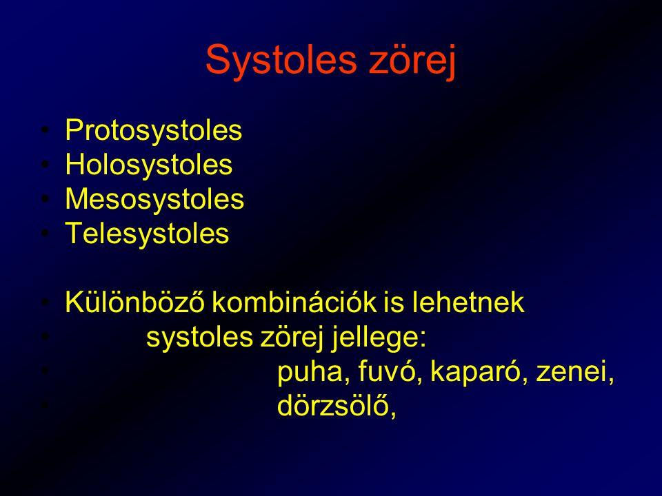 Systoles zörej Protosystoles Holosystoles Mesosystoles Telesystoles Különböző kombinációk is lehetnek systoles zörej jellege: puha, fuvó, kaparó, zenei, dörzsölő,