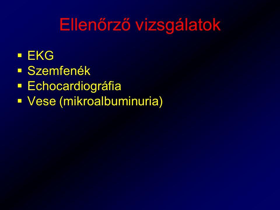 Ellenőrző vizsgálatok  EKG  Szemfenék  Echocardiográfia  Vese (mikroalbuminuria)