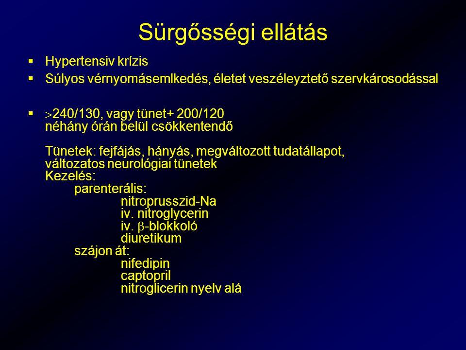 Sürgősségi ellátás  Hypertensiv krízis  Súlyos vérnyomásemlkedés, életet veszéleyztető szervkárosodással   240/130, vagy tünet+ 200/120 néhány órán belül csökkentendő Tünetek: fejfájás, hányás, megváltozott tudatállapot, változatos neurológiai tünetek Kezelés: parenterális: nitroprusszid-Na iv.