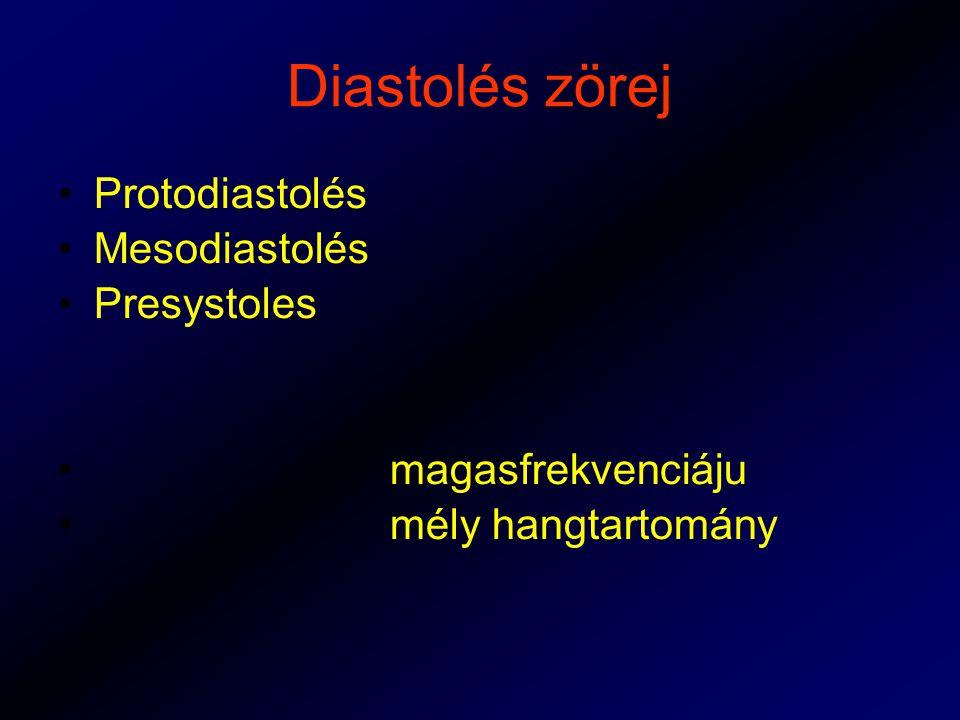 Diastolés zörej Protodiastolés Mesodiastolés Presystoles magasfrekvenciáju mély hangtartomány