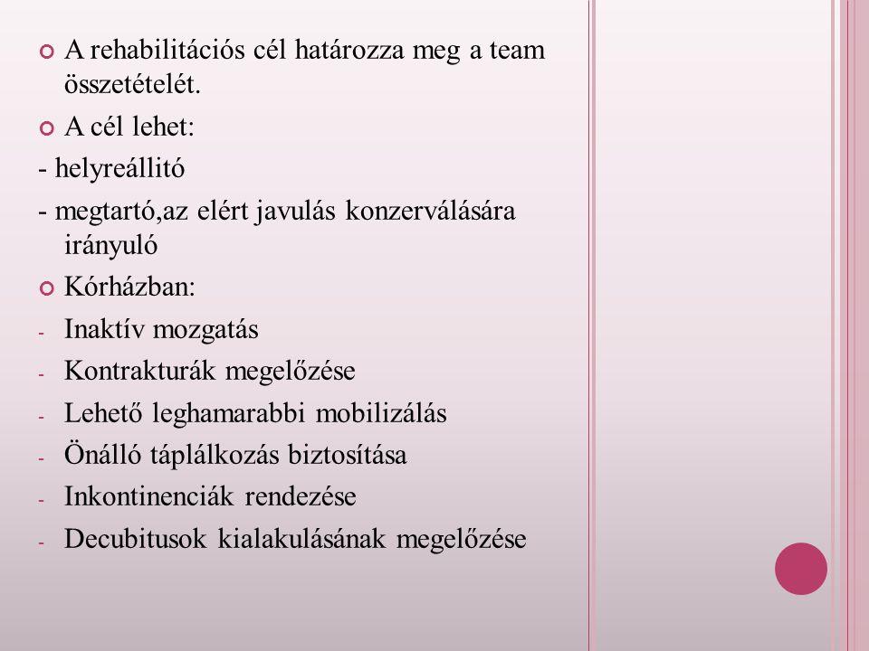 A rehabilitációs cél határozza meg a team összetételét. A cél lehet: - helyreállitó - megtartó,az elért javulás konzerválására irányuló Kórházban: -I-