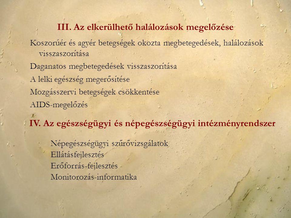 III. Az elkerülhető halálozások megelőzése Koszorúér és agyér betegségek okozta megbetegedések, halálozások visszaszorítása Daganatos megbetegedések v