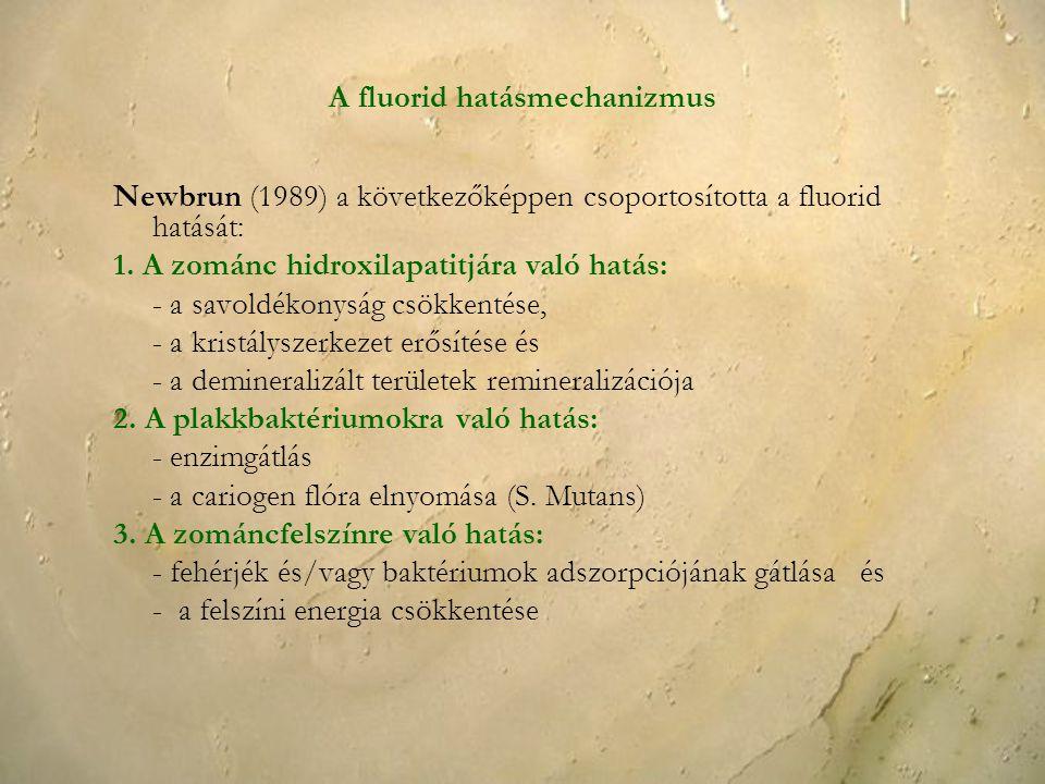 A fluorid hatásmechanizmus Newbrun (1989) a következőképpen csoportosította a fluorid hatását: 1. A zománc hidroxilapatitjára való hatás: - a savoldék
