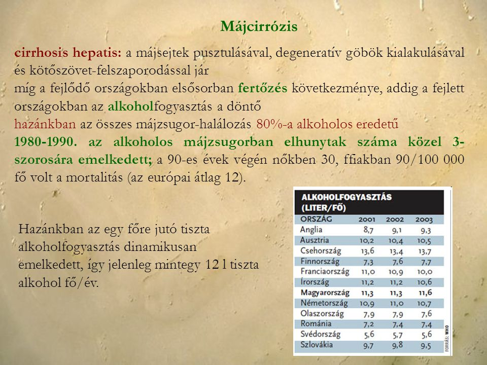 Májcirrózis cirrhosis hepatis: a májsejtek pusztulásával, degeneratív göbök kialakulásával és kötőszövet-felszaporodással jár míg a fejlődő országokba