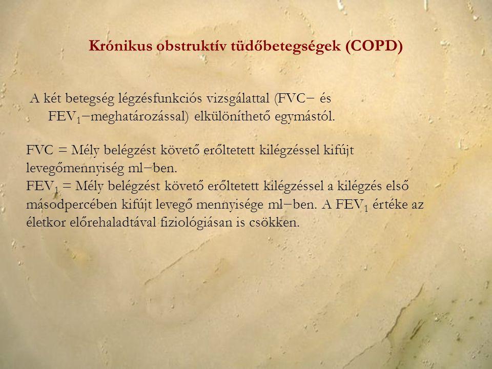 A két betegség légzésfunkciós vizsgálattal (FVC− és FEV 1 −meghatározással) elkülöníthető egymástól. FVC = Mély belégzést követő erőltetett kilégzésse