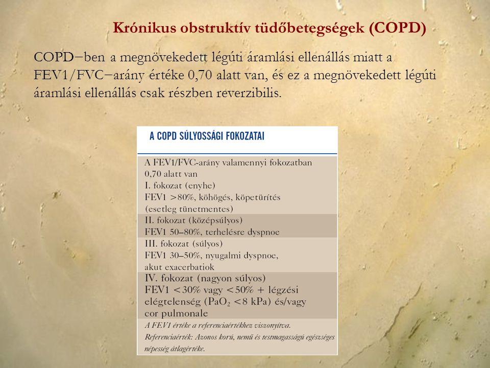COPD−ben a megnövekedett légúti áramlási ellenállás miatt a FEV1/FVC−arány értéke 0,70 alatt van, és ez a megnövekedett légúti áramlási ellenállás csa