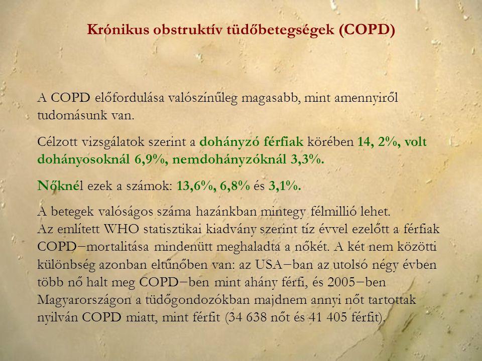 A betegek valóságos száma hazánkban mintegy félmillió lehet. Az említett WHO statisztikai kiadvány szerint tíz évvel ezelőtt a férfiak COPD−mortalitás