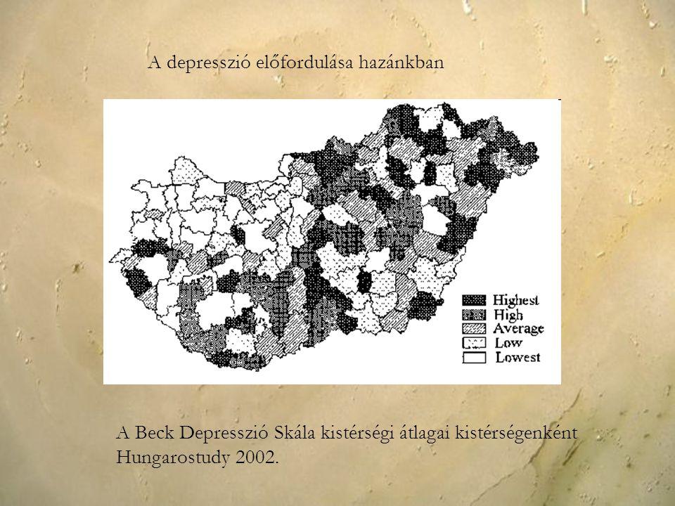 A depresszió előfordulása hazánkban A Beck Depresszió Skála kistérségi átlagai kistérségenként Hungarostudy 2002.