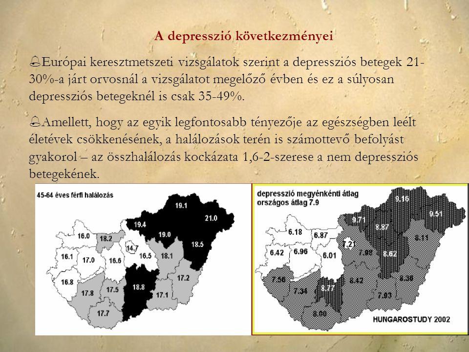 A depresszió következményei  Európai keresztmetszeti vizsgálatok szerint a depressziós betegek 21- 30%-a járt orvosnál a vizsgálatot megelőző évben é