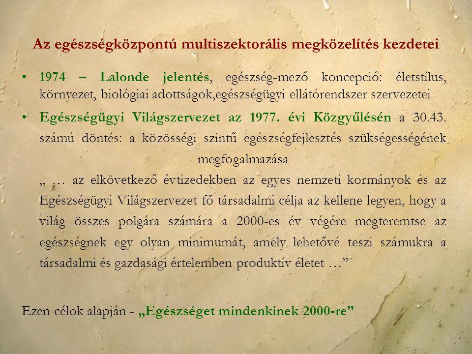 Az egészségközpontú multiszektorális megközelítés kezdetei 1974 – Lalonde jelentés, egészség-mező koncepció: életstílus, környezet, biológiai adottság