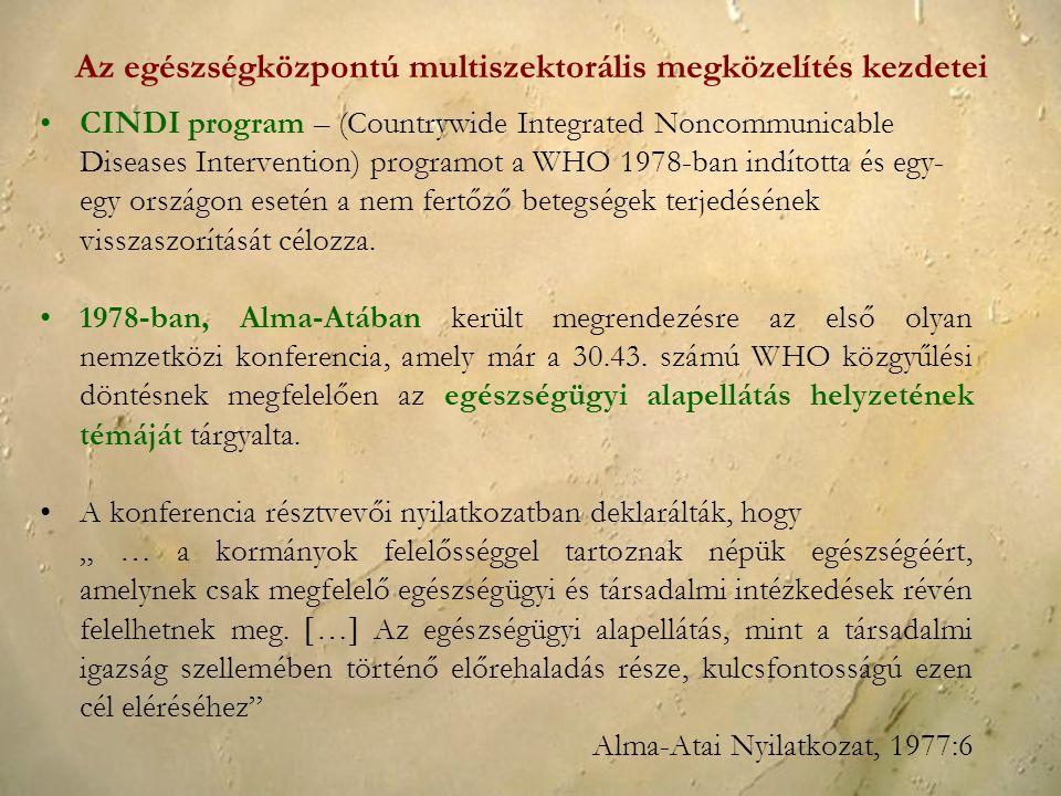 CINDI program – (Countrywide Integrated Noncommunicable Diseases Intervention) programot a WHO 1978-ban indította és egy- egy országon esetén a nem fe