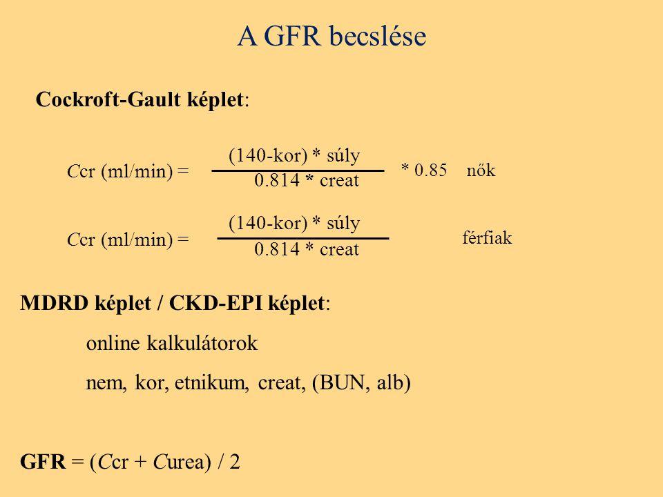 A GFR becslése Cockroft-Gault képlet: (140-kor) * súly 0.814 * creat Ccr (ml/min) = (140-kor) * súly 0.814 * creat Ccr (ml/min) = * 0.85nők férfiak MDRD képlet / CKD-EPI képlet: online kalkulátorok nem, kor, etnikum, creat, (BUN, alb) GFR = (Ccr + Curea) / 2