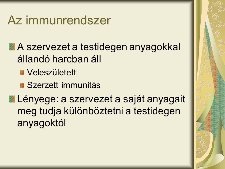 Az immunrendszer A szervezet a testidegen anyagokkal állandó harcban áll Veleszületett Szerzett immunitás Lényege: a szervezet a saját anyagait meg tudja különböztetni a testidegen anyagoktól