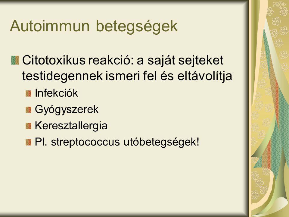 Autoimmun betegségek Citotoxikus reakció: a saját sejteket testidegennek ismeri fel és eltávolítja Infekciók Gyógyszerek Keresztallergia Pl.