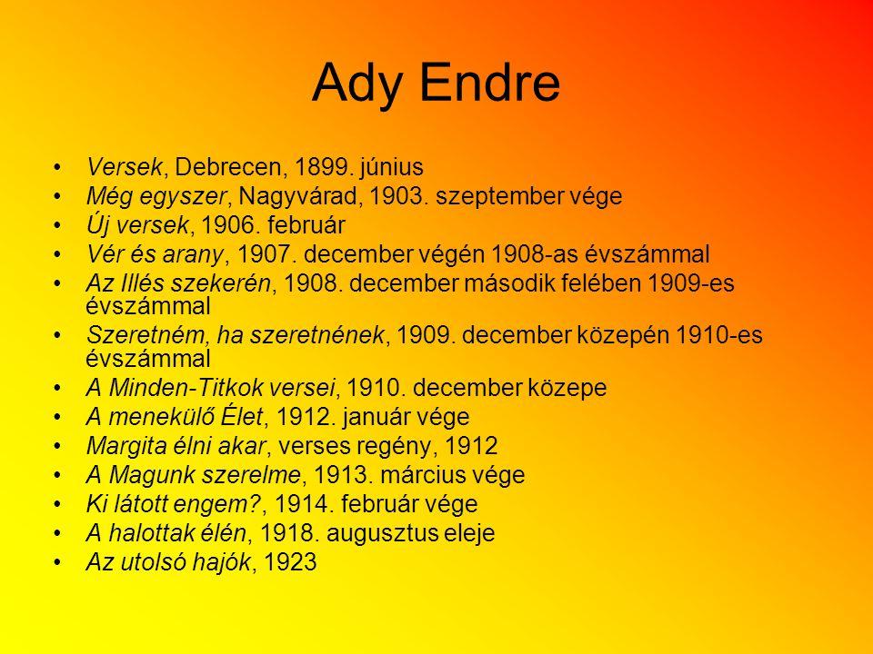 Ady Endre Versek, Debrecen, 1899. június Még egyszer, Nagyvárad, 1903. szeptember vége Új versek, 1906. február Vér és arany, 1907. december végén 190