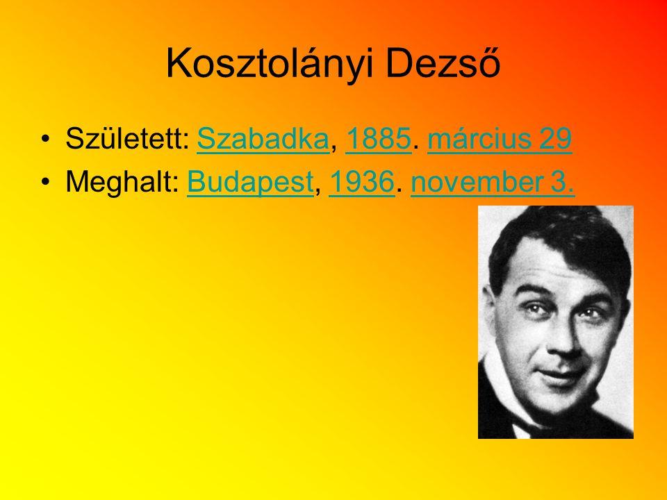 Kosztolányi Dezső Született: Szabadka, 1885. március 29Szabadka1885március 29 Meghalt: Budapest, 1936. november 3.Budapest1936november 3.