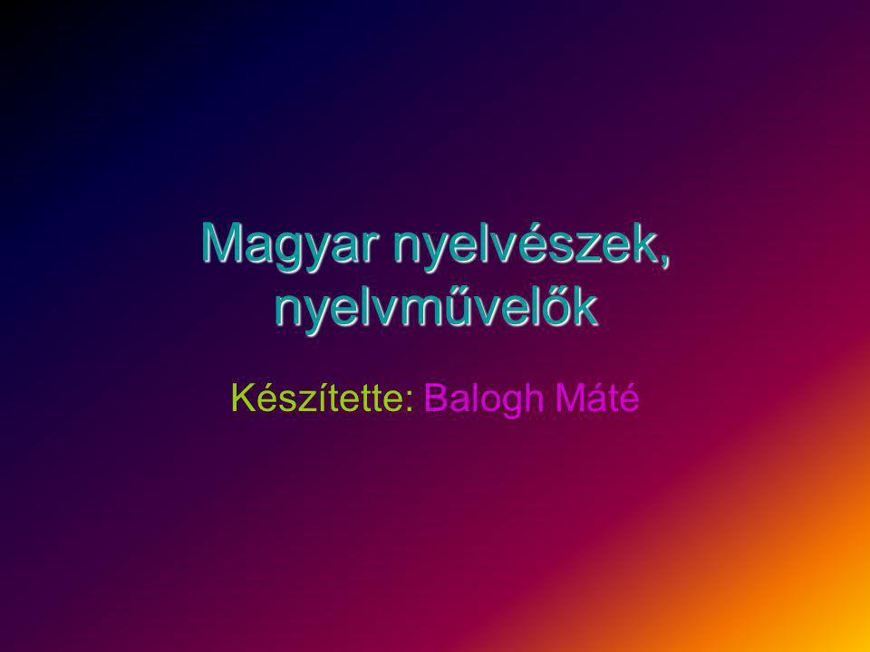 Magyar nyelvészek, nyelvművelők Készítette: Balogh Máté