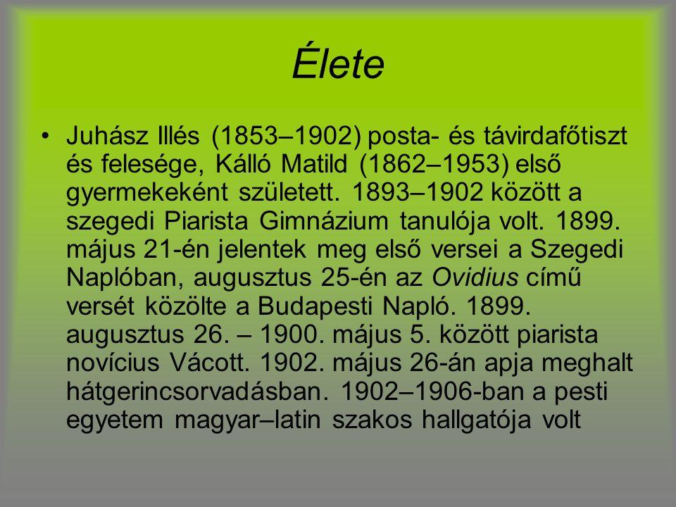 Élete Juhász Illés (1853–1902) posta- és távirdafőtiszt és felesége, Kálló Matild (1862–1953) első gyermekeként született. 1893–1902 között a szegedi