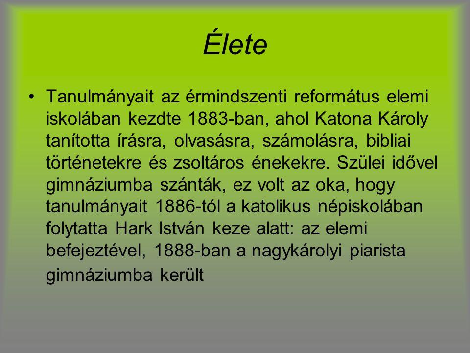 Élete Tanulmányait az érmindszenti református elemi iskolában kezdte 1883-ban, ahol Katona Károly tanította írásra, olvasásra, számolásra, bibliai tör