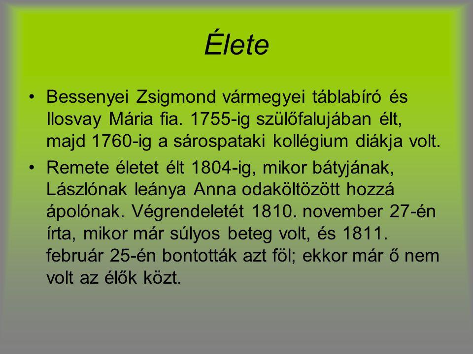 Élete Bessenyei Zsigmond vármegyei táblabíró és Ilosvay Mária fia. 1755-ig szülőfalujában élt, majd 1760-ig a sárospataki kollégium diákja volt. Remet