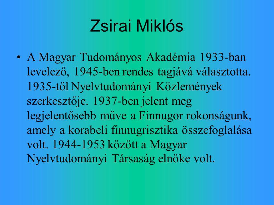 Zsirai Miklós A Magyar Tudományos Akadémia 1933-ban levelező, 1945-ben rendes tagjává választotta. 1935-től Nyelvtudományi Közlemények szerkesztője. 1
