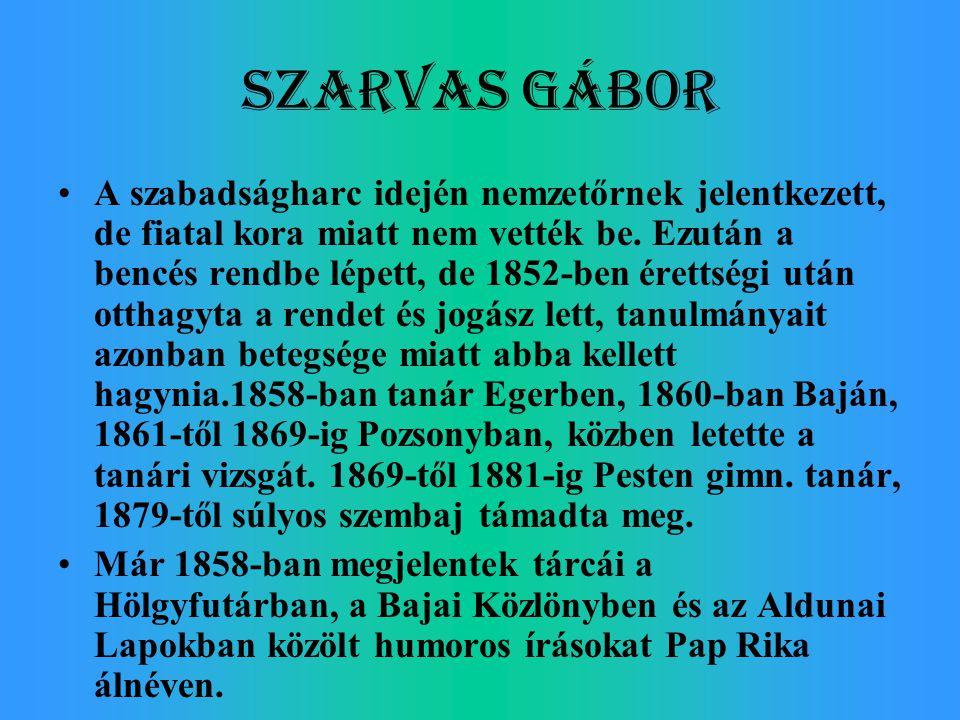 Szarvas Gábor A szabadságharc idején nemzetőrnek jelentkezett, de fiatal kora miatt nem vették be. Ezután a bencés rendbe lépett, de 1852-ben érettség