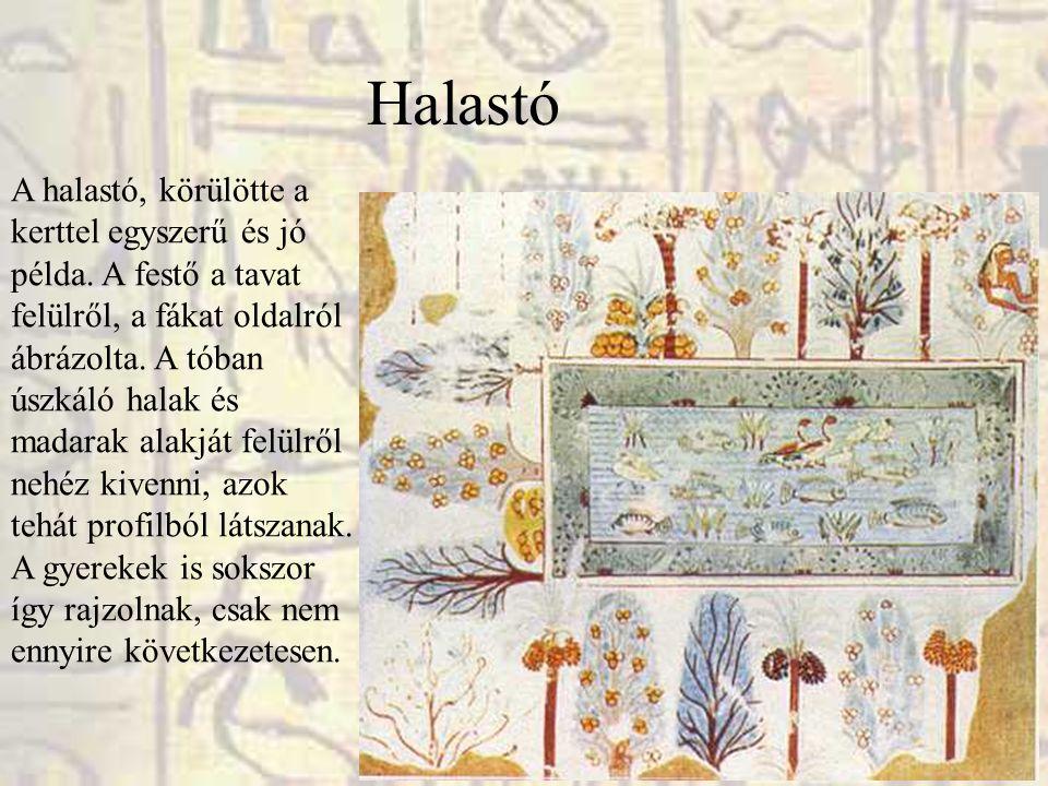 Halastó A halastó, körülötte a kerttel egyszerű és jó példa. A festő a tavat felülről, a fákat oldalról ábrázolta. A tóban úszkáló halak és madarak al