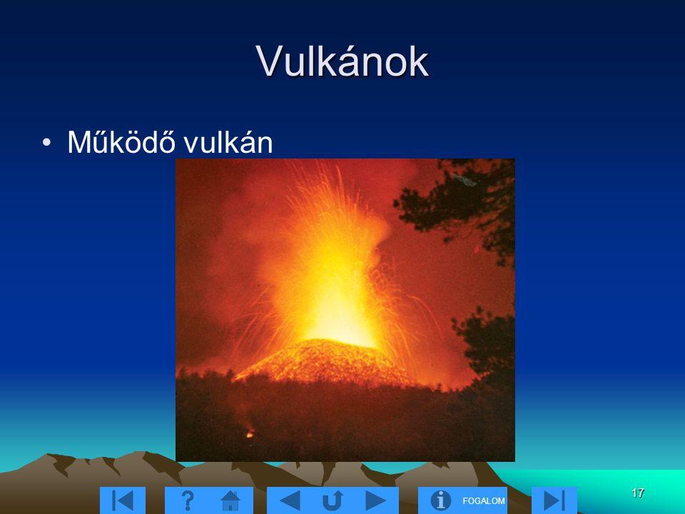 FOGALOM 17 Vulkánok Működő vulkán