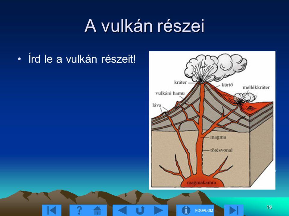 FOGALOM 19 A vulkán részei Írd le a vulkán részeit! 9