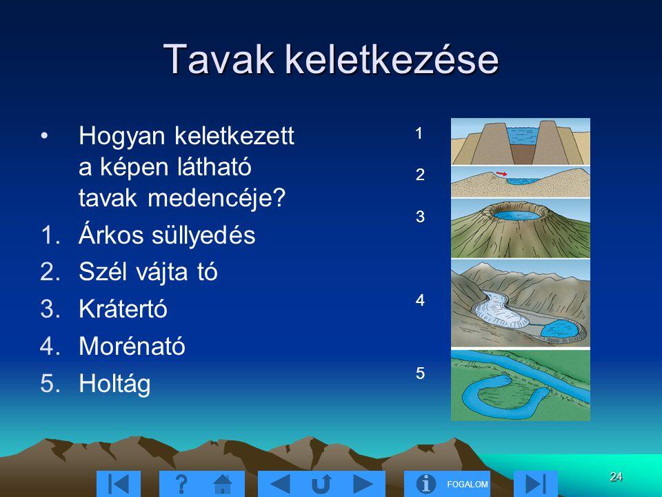 FOGALOM 24 Tavak keletkezése Hogyan keletkezett a képen látható tavak medencéje.