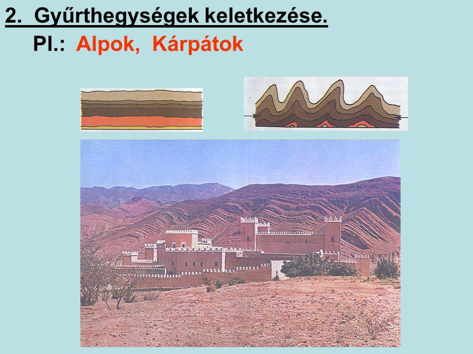 1. A hegységek csoportosítása. Magasságuk szerint: középhegységek magashegységek 500-1500 m 1500 m felett Keletkezésük szerint: gyűrthegységek röghegy