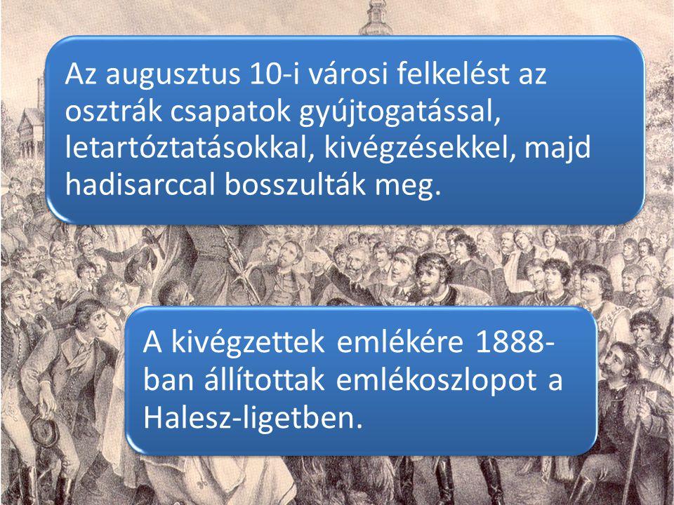 Az augusztus 10-i városi felkelést az osztrák csapatok gyújtogatással, letartóztatásokkal, kivégzésekkel, majd hadisarccal bosszulták meg. A kivégzett