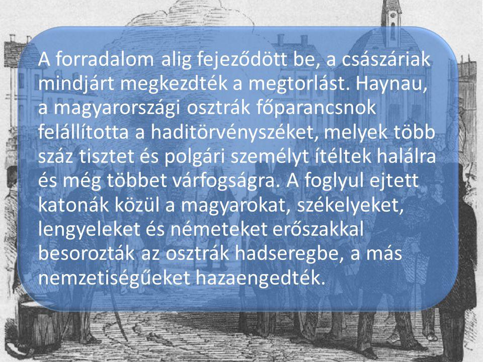 A forradalom alig fejeződött be, a császáriak mindjárt megkezdték a megtorlást. Haynau, a magyarországi osztrák főparancsnok felállította a haditörvén