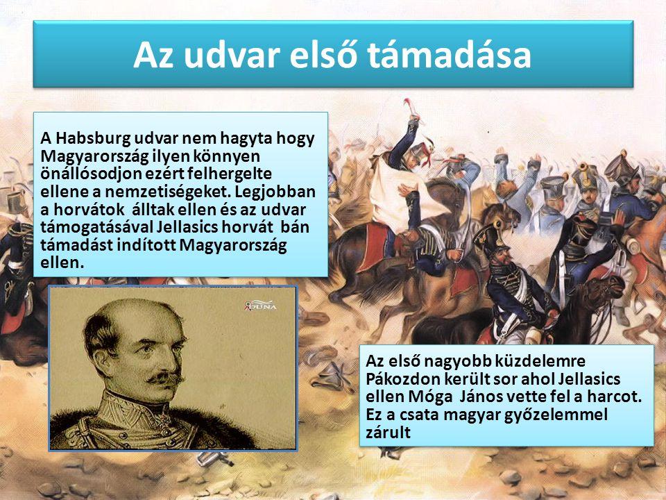 Az udvar első támadása A Habsburg udvar nem hagyta hogy Magyarország ilyen könnyen önállósodjon ezért felhergelte ellene a nemzetiségeket. Legjobban a