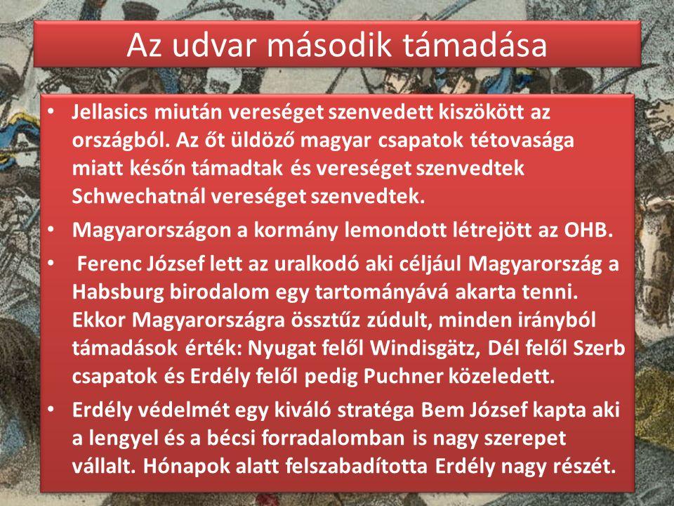 Az udvar második támadása Jellasics miután vereséget szenvedett kiszökött az országból. Az őt üldöző magyar csapatok tétovasága miatt későn támadtak é