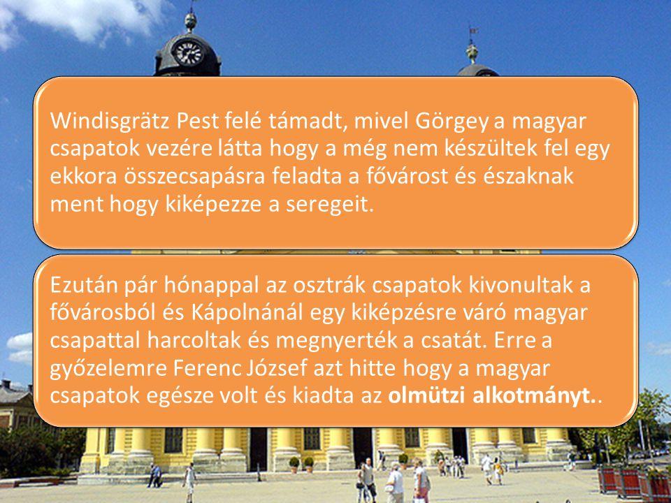 Windisgrätz Pest felé támadt, mivel Görgey a magyar csapatok vezére látta hogy a még nem készültek fel egy ekkora összecsapásra feladta a fővárost és
