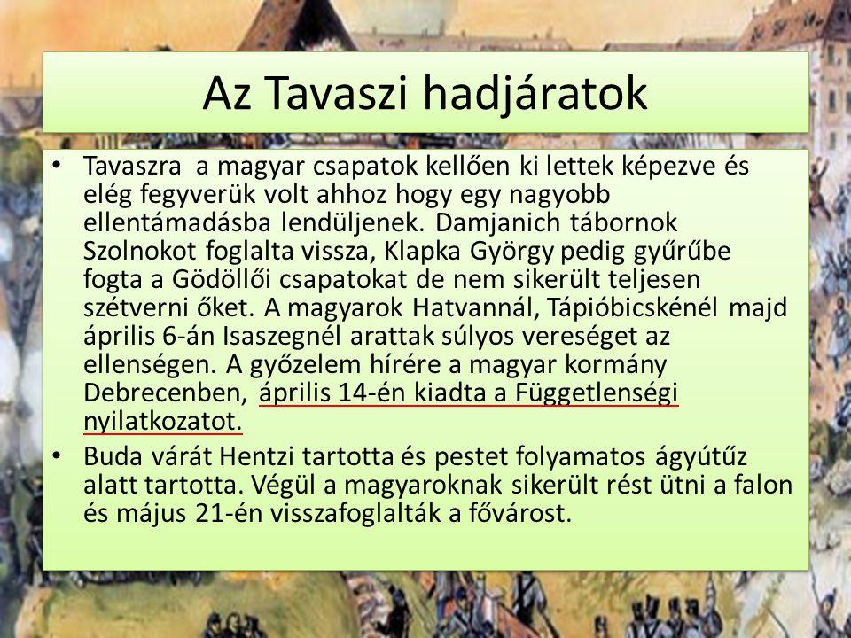 Az Tavaszi hadjáratok Tavaszra a magyar csapatok kellően ki lettek képezve és elég fegyverük volt ahhoz hogy egy nagyobb ellentámadásba lendüljenek. D