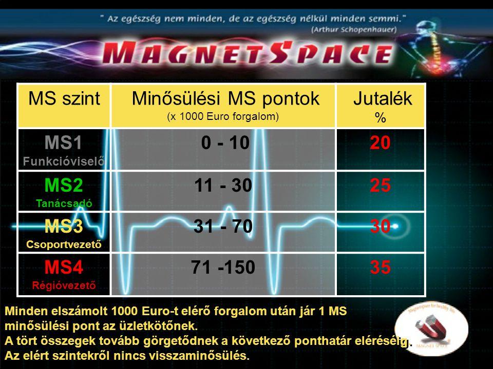 MS szint Minősülési MS pontok (x 1000 Euro forgalom) Jutalék % MS1 Funkcióviselő 0 - 1020 MS2 Tanácsadó 11 - 3025 MS3 Csoportvezető 31 - 7030 MS4 Régióvezető 71 -15035 Minden elszámolt 1000 Euro-t elérő forgalom után jár 1 MS minősülési pont az üzletkötőnek.