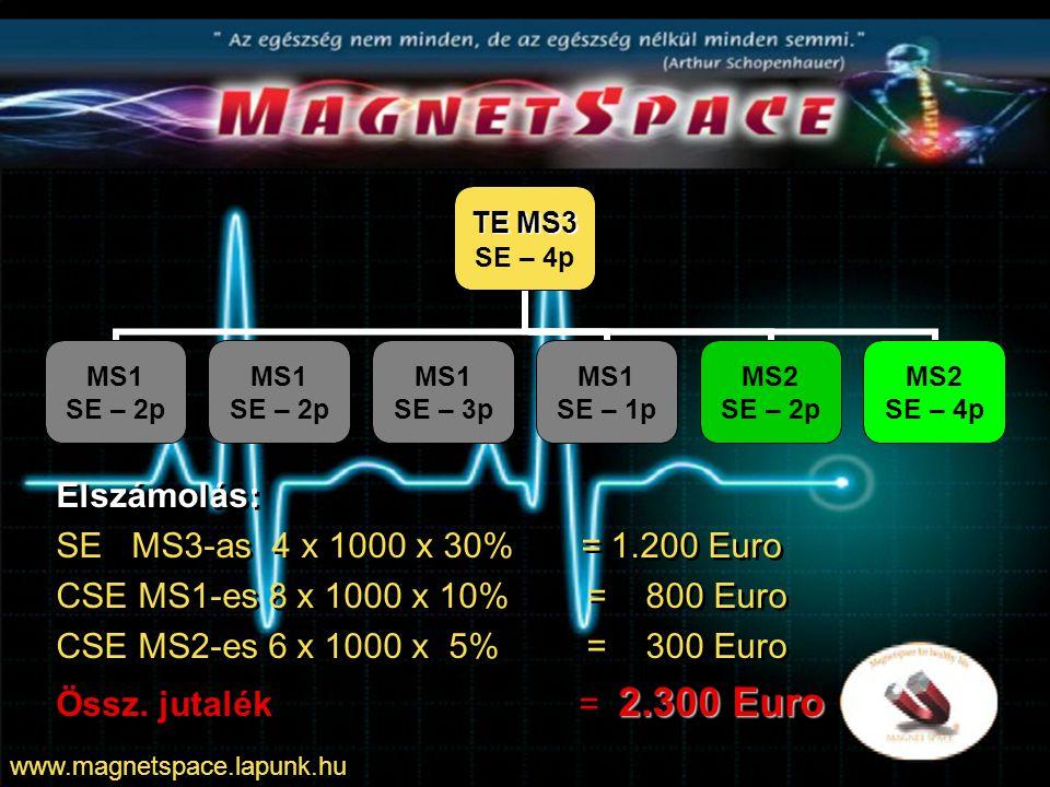 TE MS4 SE – 4p MS1 SE – 2p MS1 SE – 1p MS1 SE – 2p MS2 SE – 1p MS2 SE – 3p MS2 SE – 2p MS3 SE – 2p MS3 SE – 3p Elszámolás: SE MS4-es 4 x 1000 x 35% = 1.400 Euro CSE MS1-es 5 x 1000 x 15% = 750 Euro CSE MS2-es 6 x 1000 x 10% = 600 Euro CSE MS3-as 5 x 1000 x 5% = 250 Euro +3%-os csoportforgalmi bónusz: 25 x 1000 Eu x 3% = 750 Euro Össz.