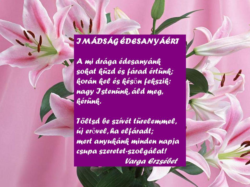 IMÁDSÁG ÉDESANYÁÉRT A mi drága édesanyánk sokat küzd és fárad értünk; korán kel és kés ő n fekszik: nagy Istenünk, áld meg, kérünk.