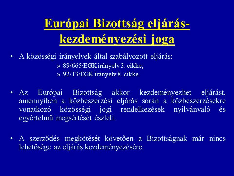 Európai Bizottság eljárás- kezdeményezési joga A közösségi irányelvek által szabályozott eljárás: »89/665/EGK irányelv 3. cikke; »92/13/EGK irányelv 8