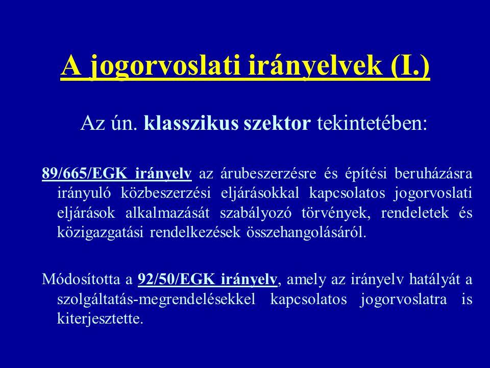 A jogorvoslati irányelvek (I.) Az ún. klasszikus szektor tekintetében: 89/665/EGK irányelv az árubeszerzésre és építési beruházásra irányuló közbeszer