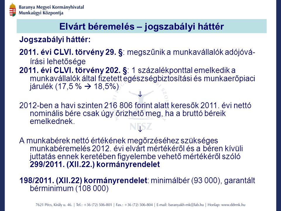 Elvárt béremelés – jogszabályi háttér Jogszabályi háttér: 2011.