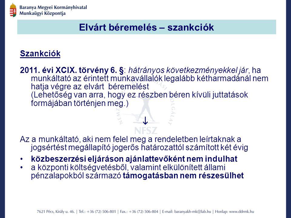 Elvárt béremelés – szankciók Szankciók 2011. évi XCIX.