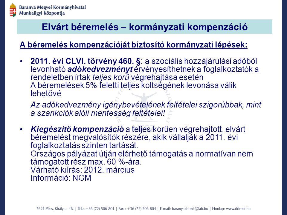 Elvárt béremelés – kormányzati kompenzáció A béremelés kompenzációját biztosító kormányzati lépések: 2011.