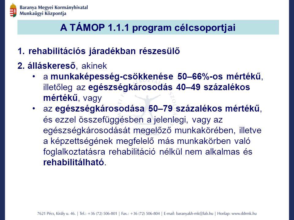 A TÁMOP 1.1.1 program célcsoportjai 1.rehabilitációs járadékban részesülő 2.