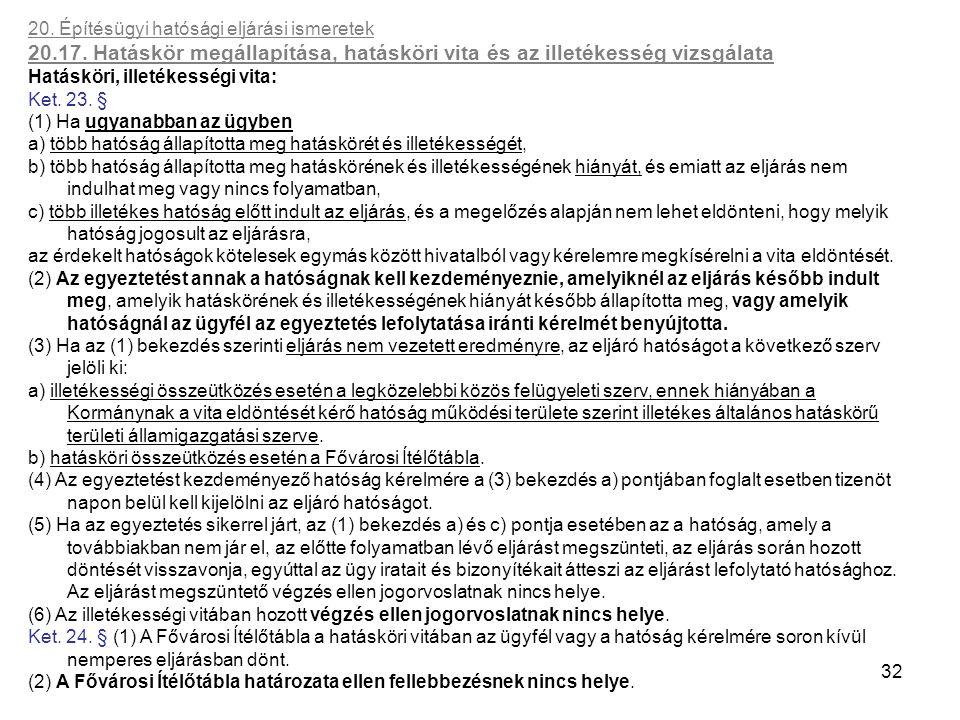 32 20. Építésügyi hatósági eljárási ismeretek 20.17. Hatáskör megállapítása, hatásköri vita és az illetékesség vizsgálata Hatásköri, illetékességi vit